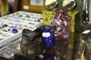 Sale 8086 - Lot 64 - Boda Owl with 2 Other Art Glass Vases