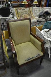 Sale 8159 - Lot 1053 - Carved Mahogany Armchair In Green Floral upholstery