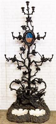 Sale 8516A - Lot 76 - An antique cast iron French Alfred Corneau (signed / verified casting to base) hall stand / hall tree of grand proportions, ornate...