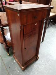 Sale 8848 - Lot 1080 - 19th Century French Walnut Bedside Cabinet, fitted with a drawer & door, flanked by columns
