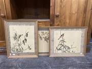Sale 9087 - Lot 2087 - A group of four retro chinese ink and watercolour paintings on silk. frame: 47 x 38 cm each,