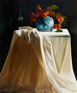 Sale 9109 - Lot 510 - Julie Davidson Still Life with Persimmons & Glass Ball, 2013 oil on linen 152 x 122 cm signed, dated and inscribed verso. Provenance...