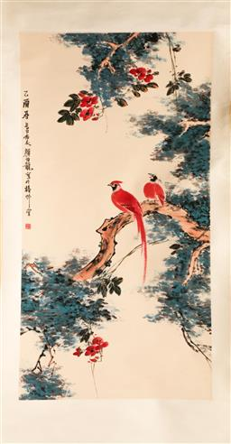 Sale 9107 - Lot 44 - A Chinese Bird Themed Scroll