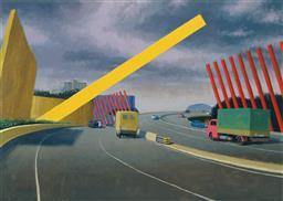Sale 9150 - Lot 519 - JEFFREY SMART (1921 - 2013) - The Melbourne Gate, 2002 75 x 102.5 cm