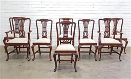 Sale 9151 - Lot 1383 - Set of 8 timber dining chairs incl 2 carvers (h105 x w59 x d46cm)
