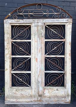 Sale 9151 - Lot 1480 - Rustic double panelled door with scrolled transom - 192 (h214 x w142cm)