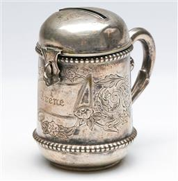 Sale 9168 - Lot 451 - An early German sterling silver moneybox (H: 58grams)