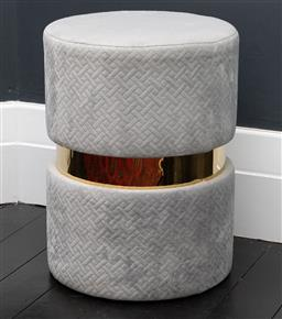Sale 9248H - Lot 149 - A grey bathroom footstool with gold tone band 48 x 35cm