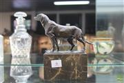Sale 8226 - Lot 6 - Bronze Signed Dog Figure on a Marble Base