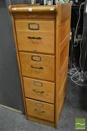 Sale 8235 - Lot 1005 - Timber 4 Drawer Filing Cabinet - Marked Childs & Co
