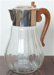 Sale 8800 - Lot 133 - An antique EP and glass Pimms jug with cooler compartment and timber handle, H 33cm
