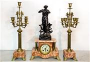 Sale 8516A - Lot 77 - A French clock with matching candelabra garnitures, c1900, mercury gilt / brass finish with beautiful rouge marble bases, hand paint...