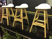 Sale 8643 - Lot 1188 - Three Buch style stools with white padded seat, each height 76cm - as new