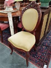 Sale 8728 - Lot 1042 - 19th Century Probably Dutch Carved Mahogany Chair, upholstered in green velvet & with cabriole legs