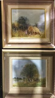 Sale 8794 - Lot 2021 - Elywn White (2 works): The Meadow; The Hay Barn oil on board, each 50 x 55cm (frame) and signed