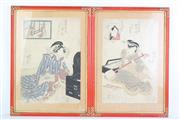 Sale 8832 - Lot 87 - A Pair of Framed Oriental Prints ( 34cm x 48cm) Together with Another Print