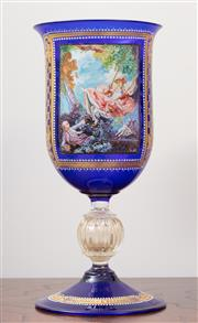 Sale 8868H - Lot 53 - A Murano blue glass aventurine included goblet form vase, hand painted with a scene after Fragonard, Height 24cm