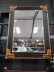 Sale 8868 - Lot 1019 - Large Italian Black & Gilt Mirror, the moulded frame with applied acanthus corners (160 x 120cm)