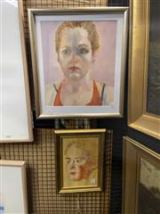 Sale 8924 - Lot 2037 - 2 Works: Alison Skewes - Profile of a Womanoil on paper, unsigned, together with Another Portrait