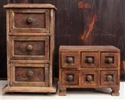 Sale 8942H - Lot 3 - A small six drawer spice chest and a tall three drawer example, tallest is 31cm