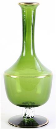 Sale 8985G - Lot 667 - Green Glass Vase with Twisted Stem Insert (H29cm)