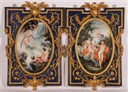 Sale 9027 - Lot 24 - Pair of French Style Cast Wall Panels with Gilt Floral Decoration on A Blue Ground, the panels once with A Bacchanalian Scene and Ny...