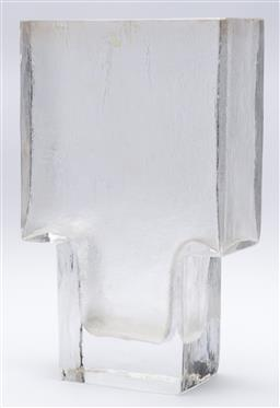 Sale 9099 - Lot 16 - A heavy glass flower vase, Height 27.5cm, repaired