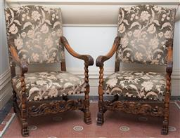 Sale 9190H - Lot 171 - A pair of antique French Henri II beech wood open arm chairs C: 1880, the back and seat upholstered in sage and cream foliate cut ve...