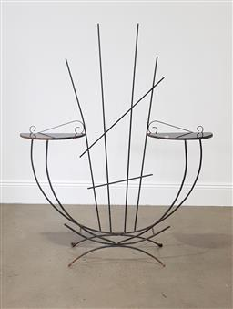 Sale 9255 - Lot 1423 - Metal garden stand with black glass shelves (h:137 x w:113cm)