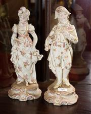 Sale 7962B - Lot 65 - Pair of C19th German Porcelain figures of Courtieres on rococo bases