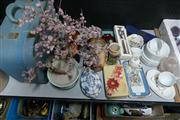 Sale 8362 - Lot 2523 - Early Suitcase w Chinese Tree Sculpture, Ceramics & Tin w First Day Covers