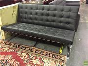 Sale 8643 - Lot 1189 - Barcelona style two seater lounge with heavy chromed base - as new