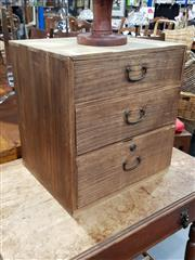 Sale 8777 - Lot 1081 - Small Rustic Timber Chest of Three Drawers