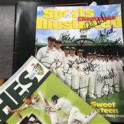 Sale 8863S - Lot 50 - Signed Programs. Sports Illustrated 2001 with cover signed by 12 Australians including Waugh, Slater. Ponting, Langer, McGrath etc; ...