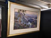 Sale 8850 - Lot 2049 - Russell Johnson - Blue Mountains Vistaoil, 73.5 x 120cm (frame), signed -