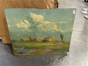 Sale 8998 - Lot 2067 - W.S. Armstrong, Hay Stacks, Oil on board, SLR, 45.5x56cm