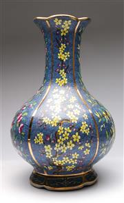 Sale 9086 - Lot 74 - A Blue Ground Chinese Vase Decorated With Flowers H: 46cm