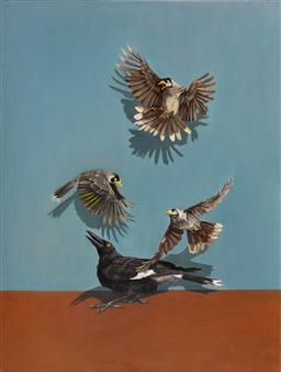 Sale 9109 - Lot 576 - Zoe Tweedale (1988 - ) Squadron (Currawong and Noisy Miners) oil on canvas 120 x 90 cm signed and inscribed verso, Robin Gibson gall...