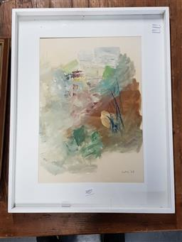 Sale 9127 - Lot 2097 - 60s Abstract work on paper signed Nolli 56 x 43cm