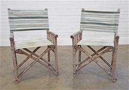 Sale 9174 - Lot 1397 - Pair of bamboo folding chairs (h:93 x w:59+ x d:46cm)