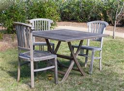 Sale 9248H - Lot 3 - A Cotswold teak outdoor table Width 108 x Depth 108 x Height 73cm together with 3 teak chairs
