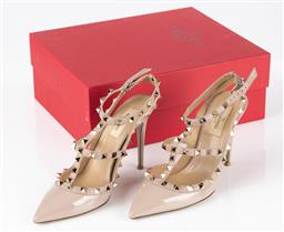 Sale 9250F - Lot 86 - A pair of Valentino Garavani studded heels in nude. Size 38 (in box)