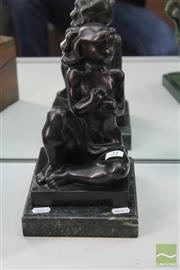 Sale 8226 - Lot 25 - Bronze Signed Figure of a Seated Girl on a Marble Base