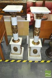 Sale 8312 - Lot 1020 - Pair of Marble Pedestals