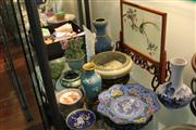 Sale 8327 - Lot 63 - Japanese Enamel Vase with Other Oriental Wares Incl A Two Sided Table Screen