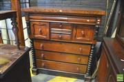 Sale 8390 - Lot 1060 - A Late 19th Century Cedar Chest of Eight Drawers flanked by cotton reel columns on plinth base.