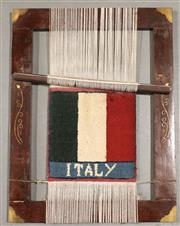 Sale 8445K - Lot 94 - Afghan Hanging Loom , 55x45cm, Interesting example loom featuring  world flag design. Ideally used as a unique wall hanging. Handmad...