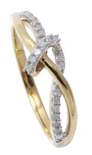 Sale 9046 - Lot 552 - A STERLING SILVER GILT DIAMOND RING; cross over design set with 17 single cut diamonds totalling 0.10ct, size N.