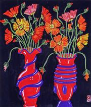 Sale 9061A - Lot 5001 - Greg Irvine (1947 - ) - Still Life With Red Vases 31 x 26 cm