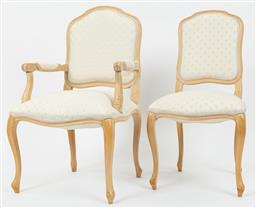 Sale 9099 - Lot 164 - A set of eight [8] limed oak Louis XV style dining chairs, including two carvers, Carver 101cm x 63cm, other HOB 98cm